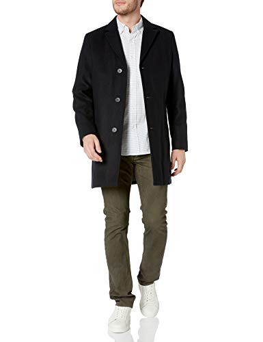 Tommy Hilfiger Men's Wool Melton Unfilled Top Coat, Navy, M
