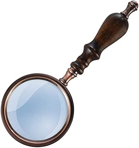 GMYQ Lupa de bolsillo con mango de madera Lupa de cobre antiguo para el ocio Lectura Personas mayores Inspección Degeneración Macular