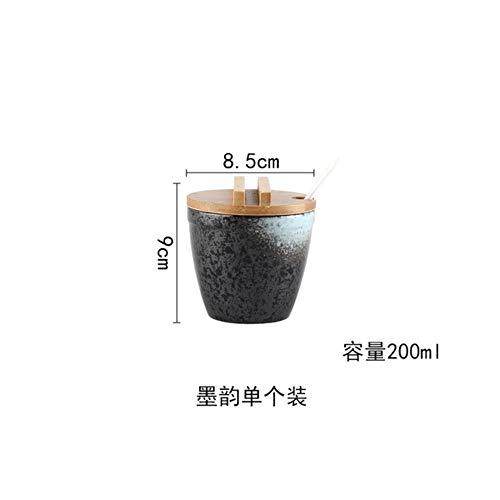 Japanse stijl Keramische Kruiden Jar Cruet Set Peper Zoutfles Container Opslag Specerijen Kruidenrekhouder met Lepeldeksels, C - 1 stuk