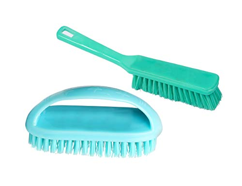 Target20 Bathroom Cleaning Scrubber Brushes for Walls Corners Tiles and Floors with Long Handle-Set of 2 Pieces