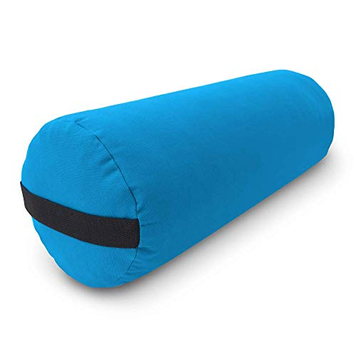 Bean Products Yoga Bolster - Handcrafted in The USA with Eco Friendly Materials - Studio Grade Support Cushion That Elevates Your Practice & Lasts Longer - Round, Cotton Aqua