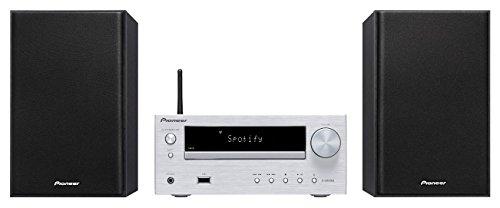 Pioneer X-HM36D(S) Microsystem mit Zweiwege-Boxen (Bluetooth, FM-Radio, DAB+, CD, MP3-USB, Fernbedienung, Timer- und Weckfunktion) Silber