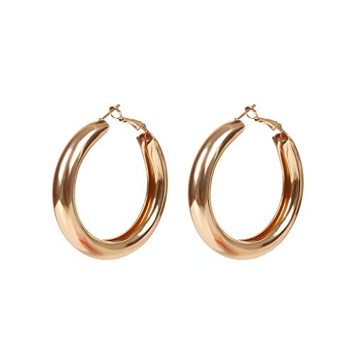 YOYOHO Inch Tube Thick Hoop Earrings Lightweight Large Stud Earrings Women Jewelry - Gold