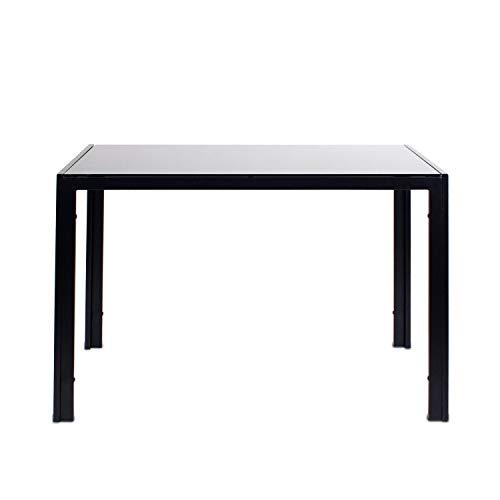 J Mesa de comedor negra, cristal templado suave mesa de cocina para...