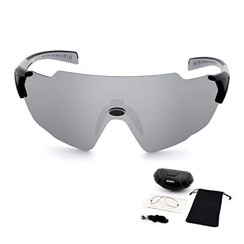 OULIQI Gafas de Sol Deportivas, Gafas de Sol Deportivas Polarizadas para Hombre y Mujer, Montura TR90 Ligera y Envolvente para Ciclismo Pesca Golf Running Conducción Esquí Senderismo (Plata)