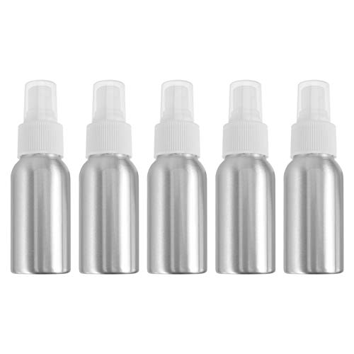 FRCOLOR Botella de Spray de Aluminio de Viaje Portátil Vacía Recargable para Perfume Agua 50ML 5 Piezas (Plata)