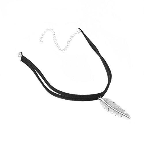 Sunnywill Frauen blattförmigen Anhänger Halskette Mode Doppel Leder Schnur Halskette für Damen Mädchen (Braun)