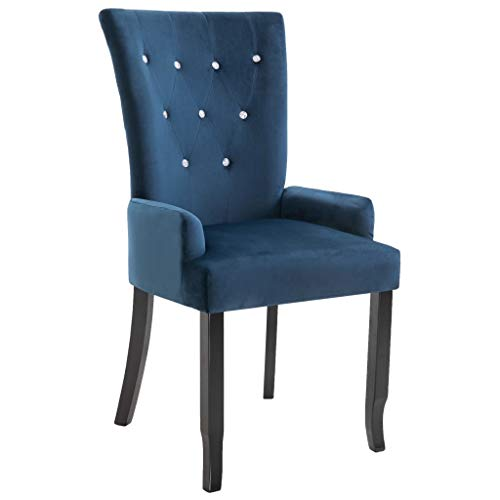 vidaXL Esszimmerstuhl mit Armlehnen Rückenlehne Hochlehne Essstuhl Küchenstuhl Lehnstuhl Polsterstuhl Wohnzimmerstuhl Sessel Stuhl Dunkelblau Samt