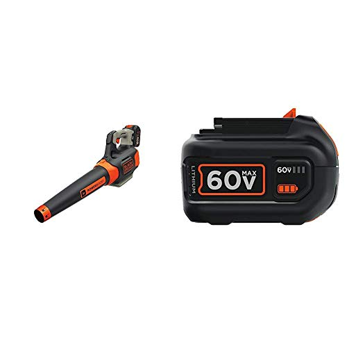 BLACK+DECKER 60V MAX Cordless Sweeper with Extra Battery, Lithium Ion, 2.5-Ah (LSW60C & LBX2560)