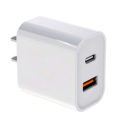 Fast Charger Power Plug for iPhone 12, Equipped with QC 3.0 20W 2-Port Fast Charger, C-Type Power Transmission Wall Charger for iPhone 12,Plug Adapter with USB Port