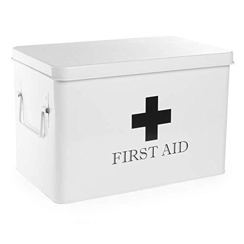 EHBO-opbergdoos | Medicijnopbergdoos & organizer voor medische kits | Geweldig voor pleisters, verbandmiddelen en medicijnen | 2 niveaus | M&W (wit)