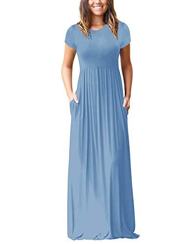 Kidsform Maxi Kleid Damen Casual Sommerkleid Kurzarm Lange Kleid Mit Tasche Lose Strandkleider HoheTaille A-Hellblau L