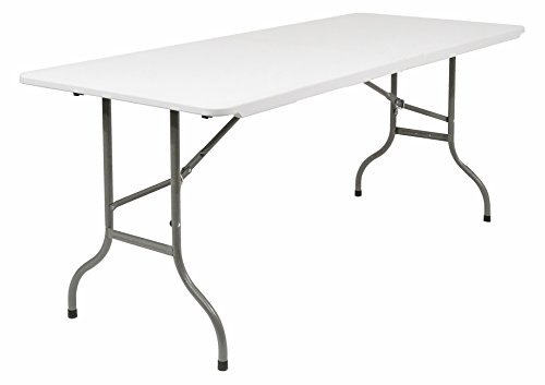 Iceberg Multi-Purpose Rectangular Bi-Fold Table, 6-Feet, White Granite