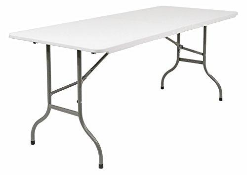 Iceberg Multi-Purpose Rectangular Bi-Fold Table, 6-Feet, White Granite