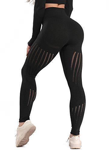 INSTINNCT Damen Yoga Lange Leggings Slim Fit Fitnesshose Sporthosen #3 Laser Stil - Schwarz S