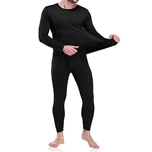 Men's Thermal Underwear Long Johns Set with Fleece Lined Black
