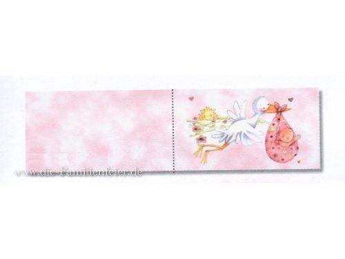 Cigogne klappkärtchen bIGLETTINO rose, 2,5 x 4,5 cm-lot de 20–pendentif communion cadeau pour les invités