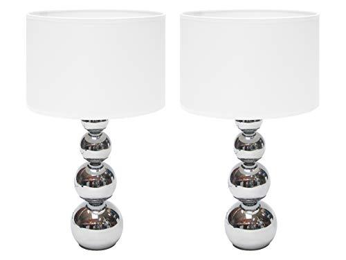 Set van 2 tafellampen met lampen, touch-functie + 3 helderheidsniveaus, via aanraking in- en uitschakelen.