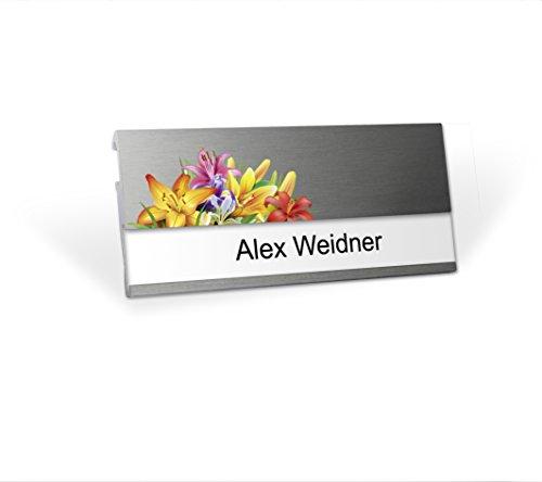 Aluminium Namensschild mit Logo Florist magnetisch für Kleidung zum Anstecken Komplettset MSF Alu beschriften Magnet Clip Nadel Papier Drucketiketten A4 Magnetnamensschild bedrucken Blumen-Geschäft