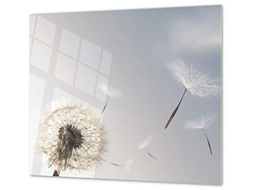 Cubre vitros de cristal templado - Tabla para cortar de cristal – Tabla para amasar y protector de vitro – UNA PIEZA (60 x 52 cm) o DOS PIEZAS (30 x 52 cm); D06 Serie Flores: Diente de león 1