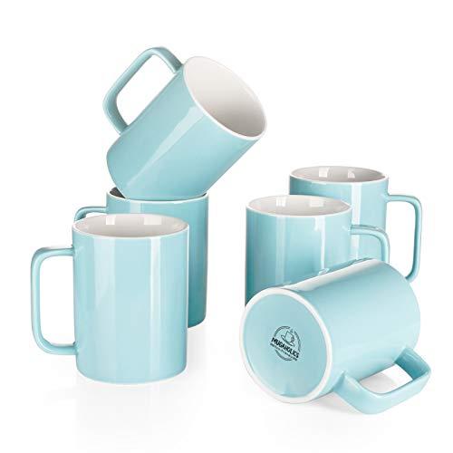 Mugaholics Porcelain Coffee Mug Set - 14oz for Coffee, Tea, Cocoa - Set of 6, Turquoise M-603