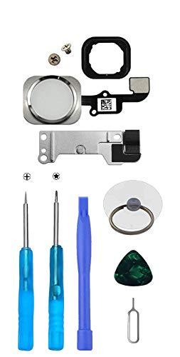 LTZGO Home Button/Hauptknopf für iPhone 6S/6S Plus (Weiß) mit Flexkabel Taste inkl. Metal Bracket und die Schutz Armatur Gummidichtung &Reparatur-Tool-Kit/Werkzeugset für einfache Installation
