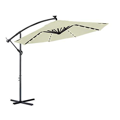 Aufun Alu Ampelschirm Ø 350 cm mit Solar LED Beleuchtung Sonnenschirm mit Kurbelvorrichtung Höhenverstellbarer, UV-Schutz 40+, Wasserabweisende Bespannung Kurbelschirm, 8 Streben, Beige