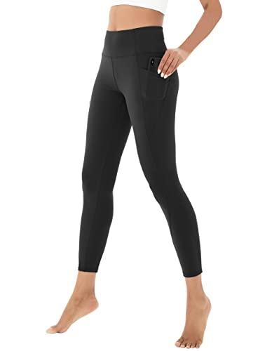 Beelu - Leggings de yoga para mujer, cintura alta, opacos, largos, pantalones de deporte para mujer, pantalones de fitness con bolsillos Negro S