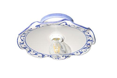 VANNI LAMPADARI - Lampada Da Soffitto o Parete Piatto onda piegato Diametro 30 In Ceramica Decorata A Mano Disponibile In 5 Finiture