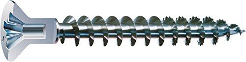 SPAX Universalschraube mit Kopflochbohrung, 4,5 x 50 mm, 500 Stück, Kreuzschlitz Z2, Kleiner Senkkopf (Ø 5mm), Vollgewinde, WIROX A3J, 0271010450505