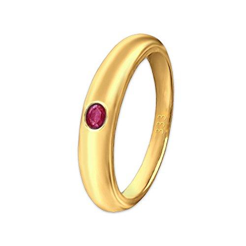 CLEVER SCHMUCK-SET dorato minadesign battesimo anello semplice con zirconi ruibn-rosso-rosa viennagold oro 333