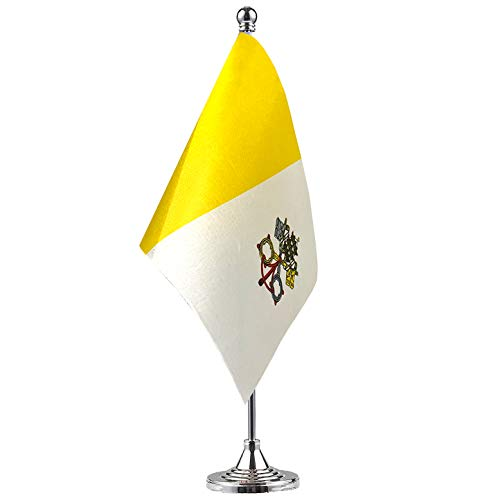 GentleGirl.USA Vatican Table Flag, Stick Small Mini Vatican Flag Office Table Flag on Stand with Stand Base, International Festival Decoration,Vatican Theme Party Decoration,Home Desk Decoration