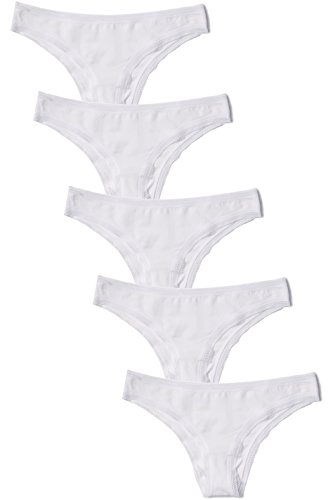 Amazon-Marke: Iris & Lilly Damen Brazilian Slip mit Wellenkante, 5er Pack, Weiß (White), M, Label: M