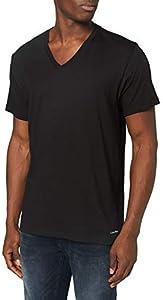 Calvin Klein S/s V Neck 3pk Camisa, Negro, L Unisex Adulto