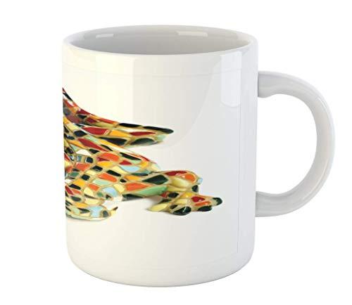 N\A Taza Retro, Gaudí Miniatura Lagarto de cerámica Mosaico Inpspired gráfico Azulejos Barcelona, Ilustraciones, Taza de cerámica de la Taza de café de Agua de té Bebidas, 11 oz, Beige