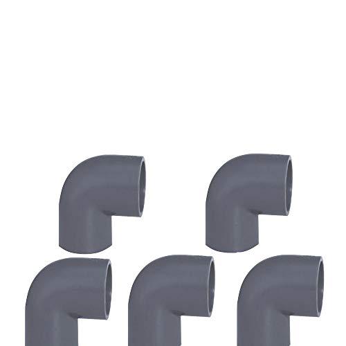 PVC Rohr 32 sowie Rohrverbinder Winkel Kniestück Muffen T-Stück Kappen (5 x 90°Winkel Ø32mm)