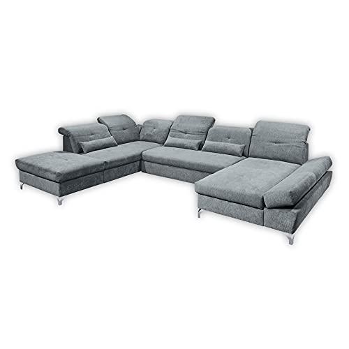 MELFI Wohnlandschaft in U-Form, Stoffbezug Anthrazit - Ausziehbares Sofa mit Schlaffunktion & Bettkasten - 350 x 73 (96) x 245 cm (B/H/T)
