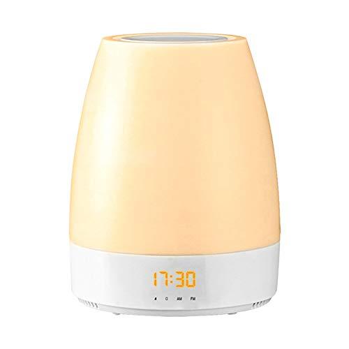 SXFYWYM Led-nachtlampje, draadloos, bluetooth-luidspreker, wake-up, lichtsnoer, smart analoog, sunrise wekker, tafellamp