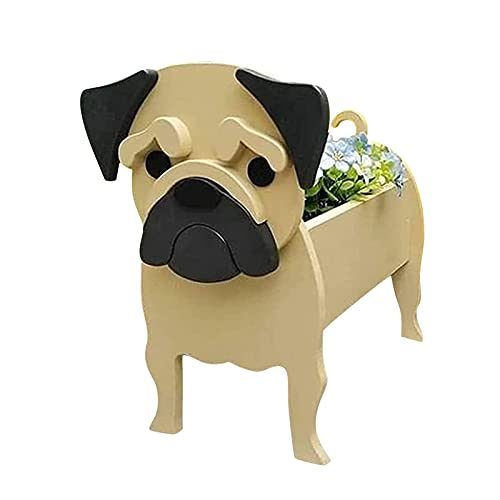 Dog Planter, Cute Animal Planters Flower Pot, Chihuahua Dog French Bulldog Corgi Golden Retriever Pug Dog Garden Yard Art Decor (C, 361432cm)