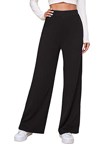 DIDK Femme Pantalon Droit Décontracté Taille Haute Pantalon De Sport Yoga Gym Fitness Jogging Pantalon Elastique Noir L