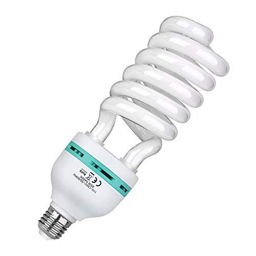 GEEKOTO 85W 220V 5500K Tri-Fosforo Spirale Bulbo Fluorescente Compatto CFL Luce Naturale Equilibrata Lampadina con Montatura E27 per Illuminazione Effetto Studio per Fotografia e Video (85W)