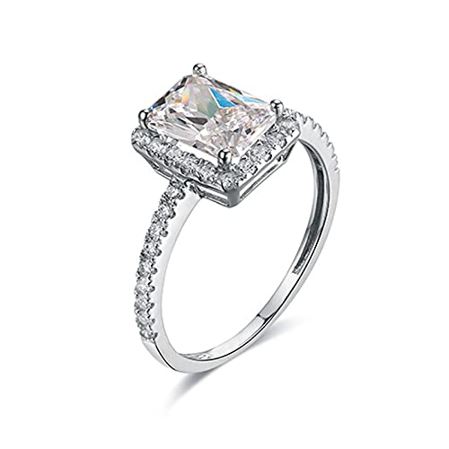 WSX 14ct White Gold Stackable Rings Gold 2 Carats Moissanite Rectangular Shaped Ring Silver Women Rings Size R 1/2