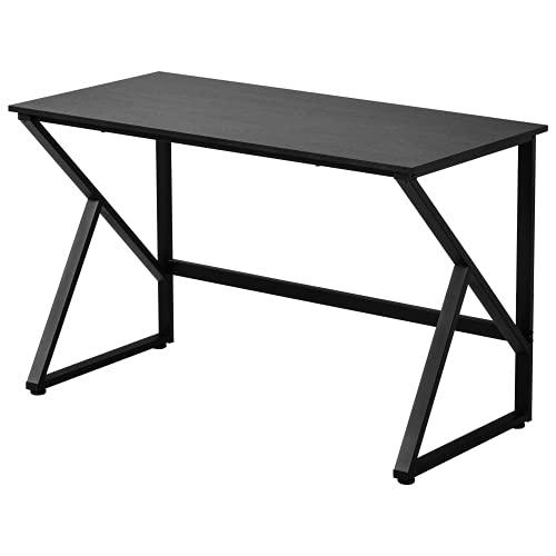 Escritorio, mesa para ordenador con patas en forma de K, gran mesa de trabajo para oficina en casa, fácil de montar, 120 x 60 x 75 cm, color negro