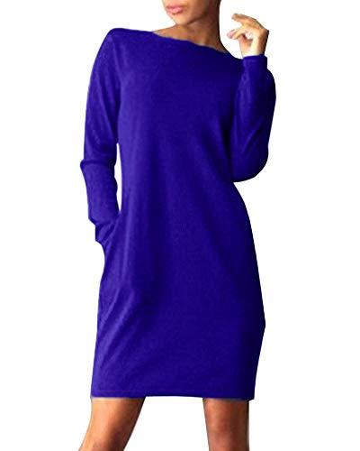 ShallGood Mujeres Casual Cuello Redondo Manga Larga Bolsillo Mini Vestido De Fiesta Moda Suelto Color Sólido Camiseta Tops Dress