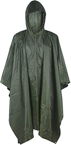 Regen Poncho, waterdichte jas Camouflage Rain Outdoor Camo Shelter grondzeil (Color : Green)