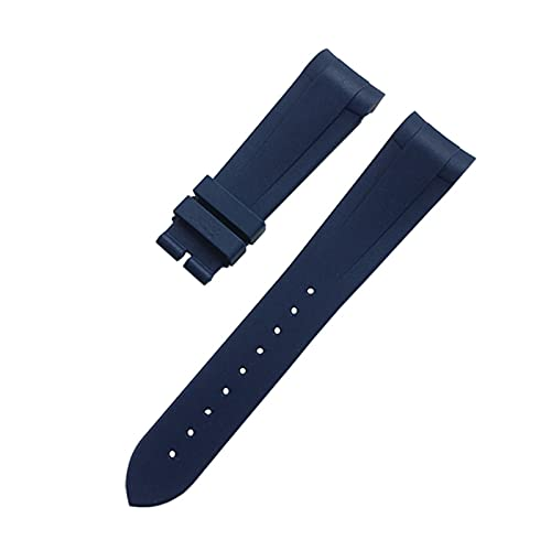 SSXPNJALQ 22 mm Curved Fin Soft Silicone Reloj de Pulsera Reloj de Reloj de Plata Ajuste for Correa Tudor Biwan Bronce Pequeña Flor Roja