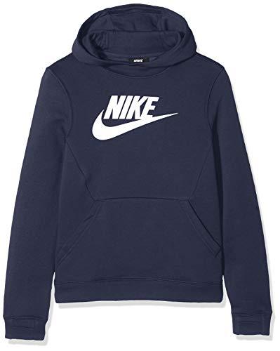 Nike Po Hoodie Club Fleece Hbr, Felpa Bambino, Obsidian/White, L