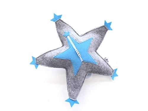 Einschlafhilfe blau mit Namen, Aufzieh-Spieluhr zum Aufhängen, Erinnerungsstück an die Kinderzeit