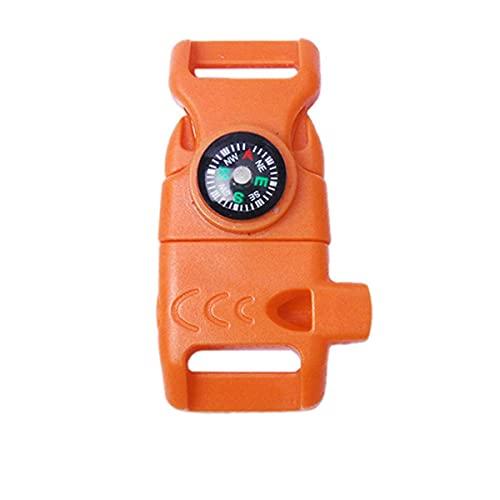 5pcs brújula silbato hebilla con raspador plástico colorido para supervivencia al aire libre camping EDC mochila bolsa Paracord pulsera partes naranja