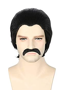 Topcosplay Men s Wigs Black Short Cosplay Halloween Costume Party Wigs Slicked-back Wig with Mustache